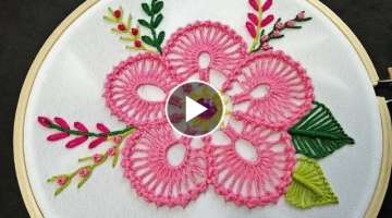 Hand Embroidery | Bead Stitch Flower Embroidery | Fantasy Flower Stitch | Hand Embroidery Designs