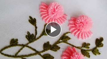 Hand Embroidery: Brazilian Flower Embroidery/ Bullion Pom Pom