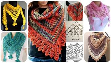 Crochet a simple triangular shawl with double crochets
