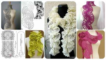 Crochet women's scarves with fringes and flowers
