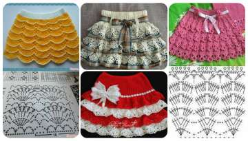 The fashion of making cute knitted skirts for a girl