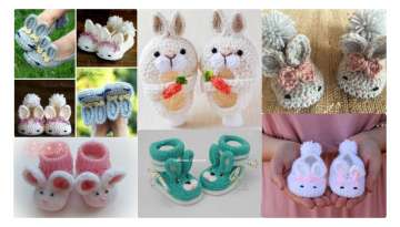 KNITTED BABY SHOES IN THE SHAPE OF RABBIT
