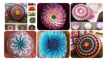 Manufacture of knitted flower cushions