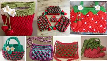 Tunisian Craft Strawberry Bag Making