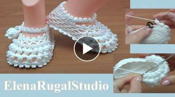 Crochet Baby Shoes with Beads