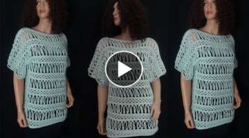 How to Crochet Striped Lace Blouse