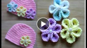 How to crochet Flower for basic baby hat