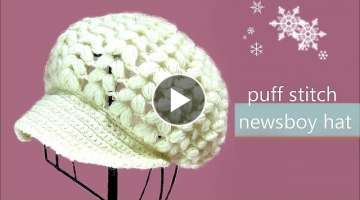 How To Crochet puff stitch newsboy hat