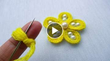 hand embroidery amazing trick# woolen flower with pearl beads#woolen flower