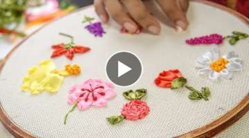 10 RIBBON EMBROIDERY FLOWERS