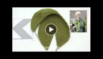 How to start a shawl with leaves working in garter stitch