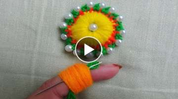 hand embroidery amazing tricks,#decorative wool embroidery flower with pearl, finger knitting woo...