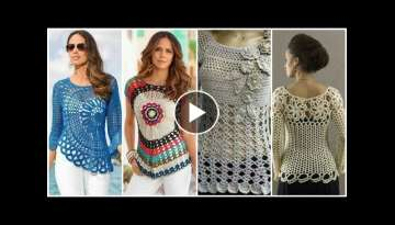 Latest stylish & Beautiful Crochet lace flower blouse ,stylish leaf pattern short frock design id...