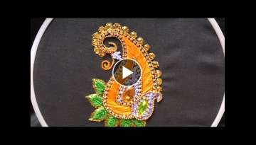 Hand embroidery .Aari style embroidery for ghagras