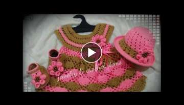 Crochet baby dress | How to crochet an easy fan stitch