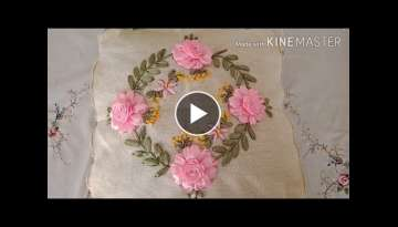 Ribbon embroidery on cushion covers
