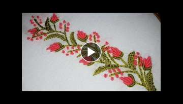 Hand embroidery designs. border line tutorial for beginners.by nakshi katha
