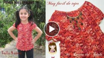 Como tejer BLUSA CROCHET NIÑA 8 AÑOS - How to CROCHET BLOUSE 8 YEAR OLD GIRL