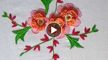 Hand embroidery. Brazilian embroidery design. Button art design.